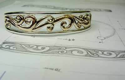 Chibnalls custom made cuff hand crafted in Silver and 9ct Gold.