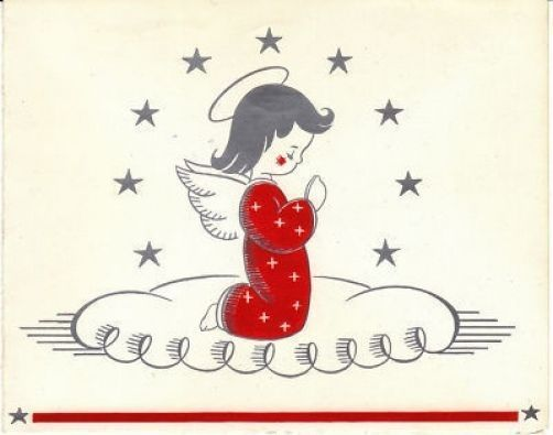 Vintage Christmas Card Praying Angel Girl Silver and Red 1940s to 1950s
