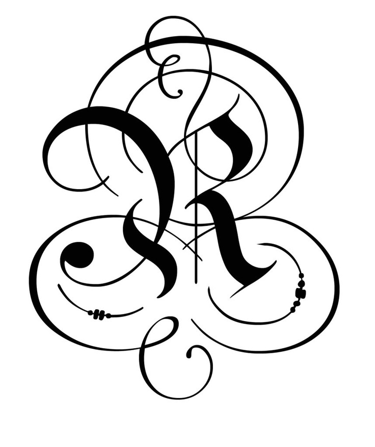 Flourished Gothic R Lettering Calligraphy