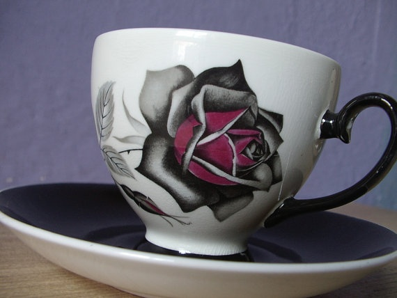vintage gothic rose tea cup and saucer set Royal by ShoponSherman, $49.00