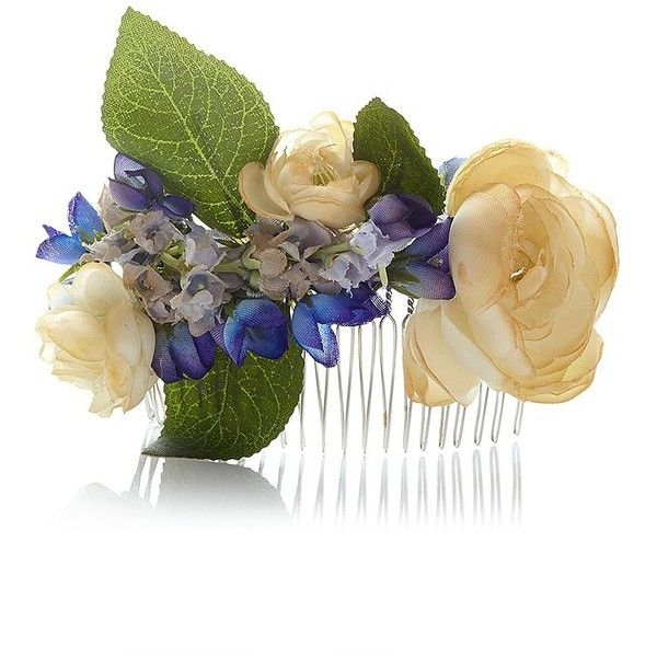 Stone Fox Bride The Juniper Blue & White Silk Comb (2 610 ZAR) ❤ liked on Polyvore featuring accessories, floral shawl, blue and white scarves, floral scarves, silk scarves and silk shawl