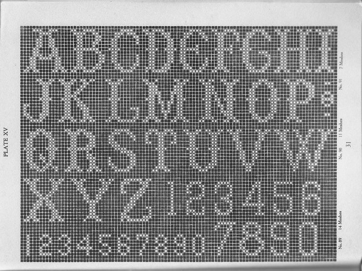 Free Filet Crochet Alphabet Charts | Free Filet Crochet Tiger Graph Pattern