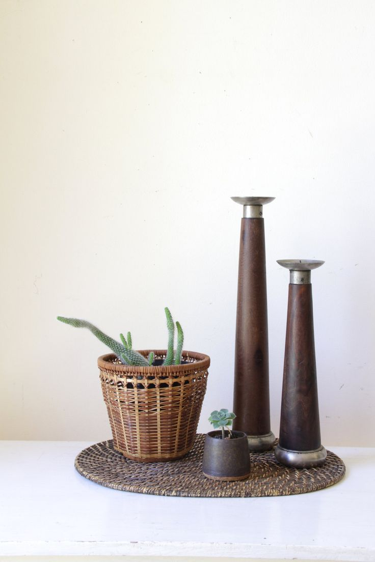 Vintage wooden candlesticks/ two tall wood candleholders/ rustic home decor/ eclectic bohemian gift/ unique modern vintage by RetroandRosesvintage on Etsy