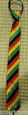 """Teens Rasta Black Red Yellow Green Adjustable 14"""" Zipper Up Pre-tied Necktie-New"""