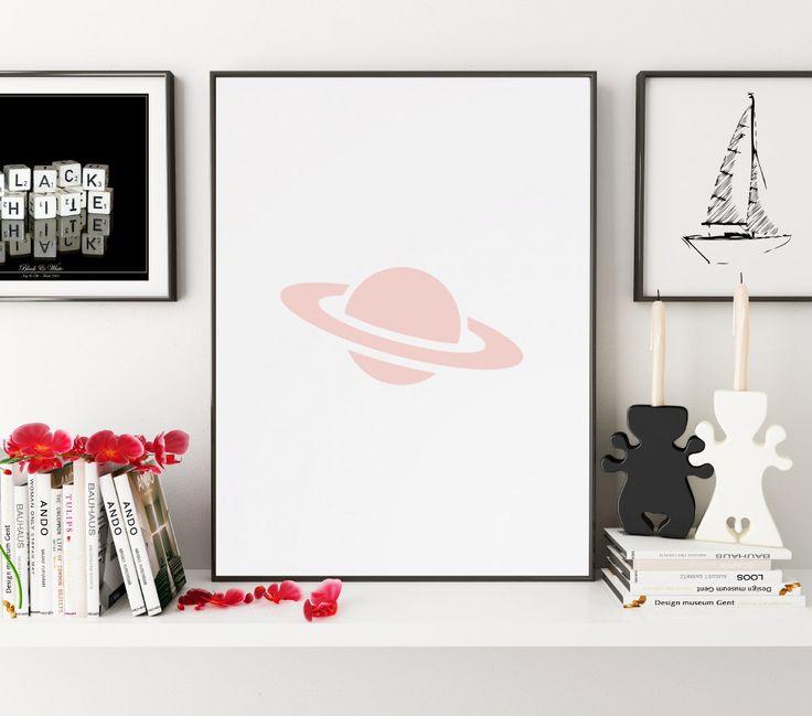 Pink Saturn Print, Planet Print, Pink Saturn Wall Art, Saturn Wall Print, Saturn Art, Astronomy Wall Prints, Planet Printable