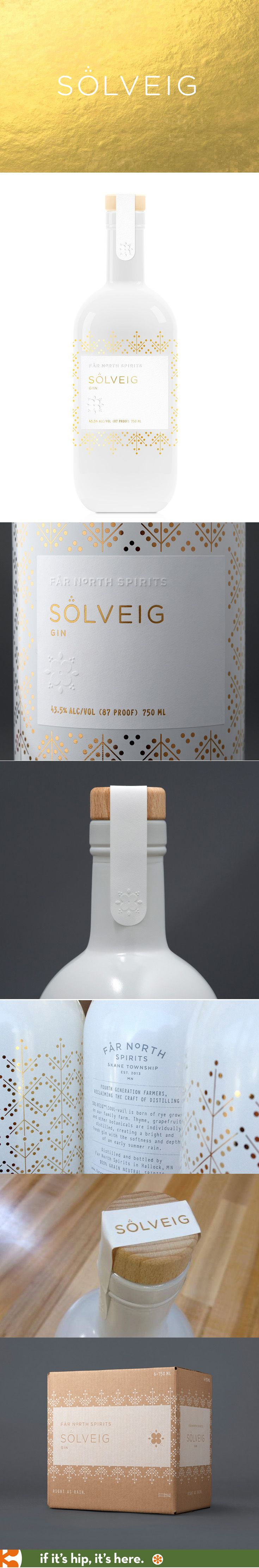 Solveig Gin bottle and package design by Jenney Stevens for Far North Spirits.