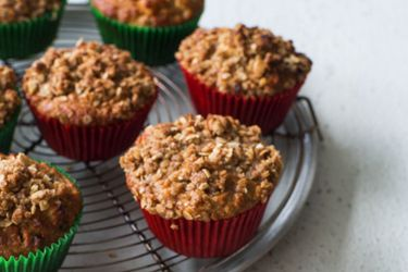 Oaty apple and sultana muffins with crumble topping