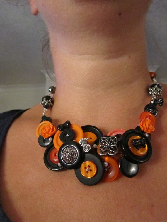 Beautiful Bewitched reworked Black and Orange button Necklace a WOW statement piece great for Halloween fancy dress idea Holidays Goth Emo