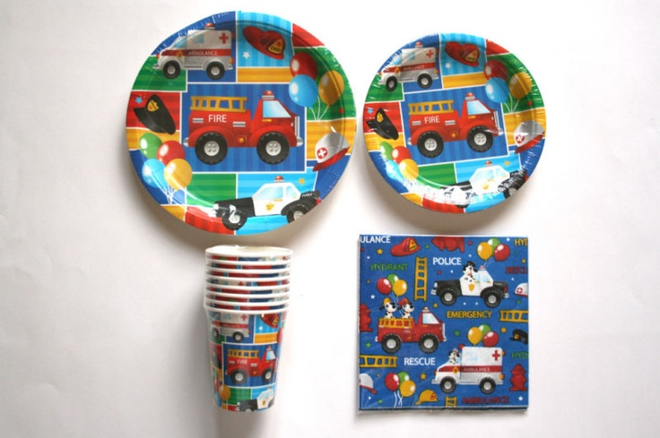 Rescue Vehicles Birthday Party Supply SET for 8 guests | eBay