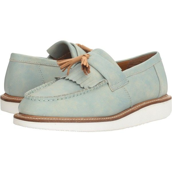 Dr. Martens Annah (Coronet Blue/Tan Blizzard Rave/San Diego) Women's... (368330 PYG) ❤ liked on Polyvore featuring shoes, sandals, green, fringe wedge sandals, wedges shoes, blue wedge sandals, tan sandals and blue loafers