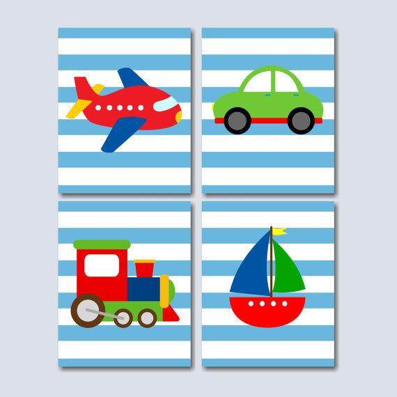 Transportation Nursery Wall Art, Boy Nursery Wall Art, Cars Plane Train Boat Wall Art- UNFRAMED Set of 4
