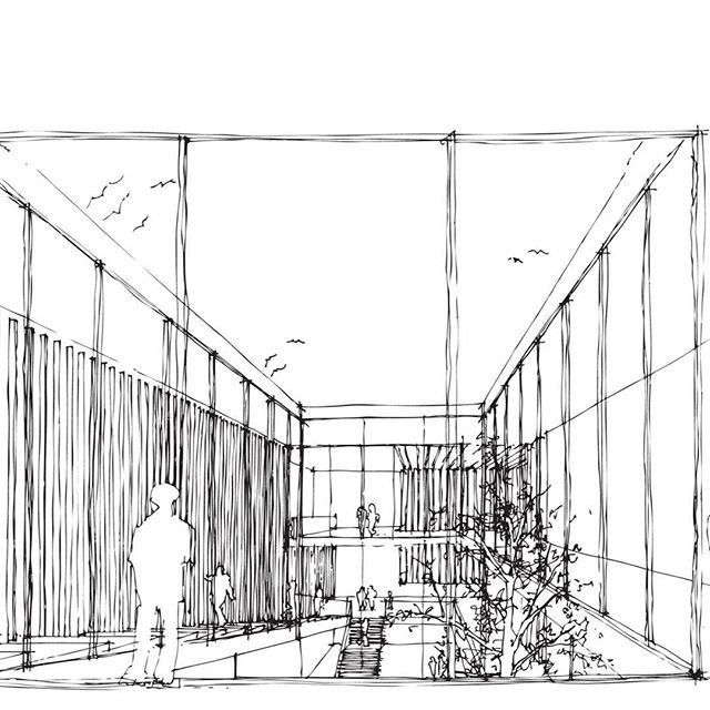 Here is our #sketch showing the interior court of our design proposal for Museo de Arte Contemporaneo #mardelplata #competition with Savastano-Venezia architects. #axdstudio #meaningfularchitecture #architecture #museum #mpac #interiorarchitecture #archilovers #dezeen #handperspective #interiorperspective #archdaily #design #arts #architecturelovers #perspective #design #concept #instagood #beautiful #archilovers #style #archidaily #geometry #arqsketch
