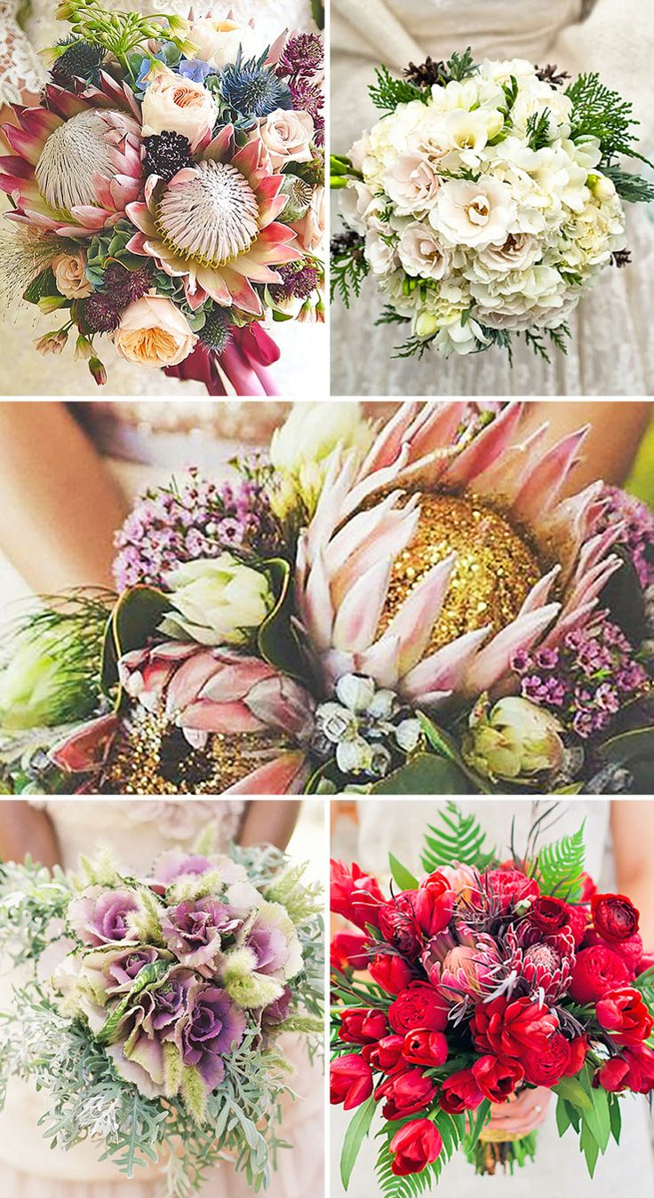 Wedding Bouquets That Are Beautiful & Unique. Exotic protea, colourful kale flowers, pine cones and single oversized succulents. ❤ See more: http://www.weddingforward.com/beautiful-wedding-bouquets/ #weddings #bouquets