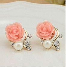Korean Fashion Jewelry Exaggerated Earrings New Style Korean Women Ol Pink Rose Imitation Pearl Crystal Earrings Wholesale //FREE Shipping Worldwide //