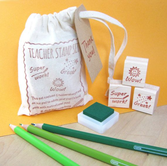 Teacher Stamps  Teacher Rubber Stamp Set by skullandcrossbuns, £10.00