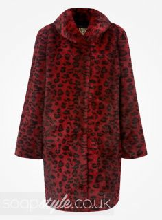 EastEnders Kat Moon // Jessie Wallace // Kat's Red Leopard Print Fur Coat - Multiple Episodes [ Click photo for details ▴▴ ]