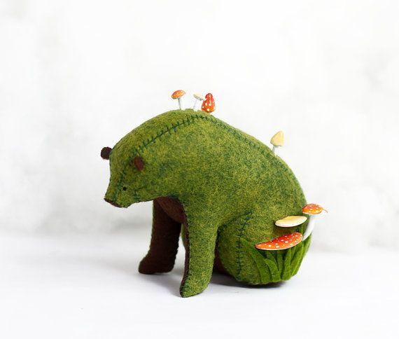 Forest Spirit / Sitting Bear Soft Sculpture / Grizzly Bear Art / Green Bear