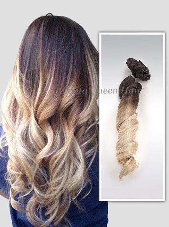 Clip in Ombre Hair ExtensionsBrown to Blonde by LolitaQueenHair