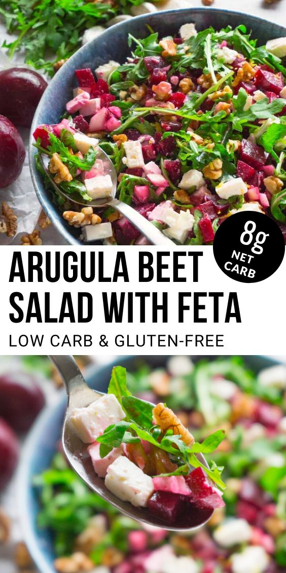 Healthy and nutritious arugula beet salad with feta and walnuts with olive oil and lemon dressing – a delicious gluten-f…