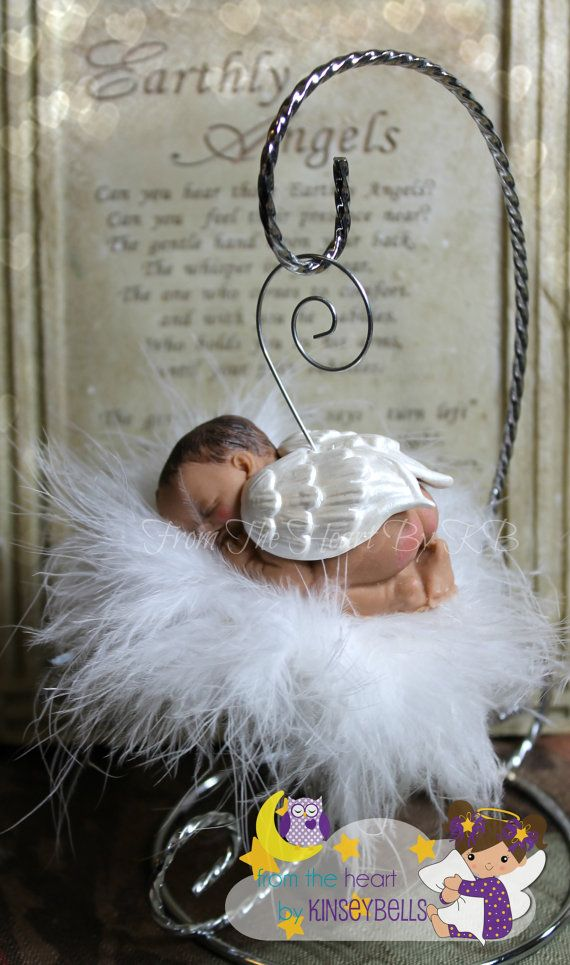 Baby Memorial,Custom skin tone and Hair Angel Baby Ornament by FromTheHeartbyKB. The perfect gift for a miscarriage or infant loss memorial. This Sleeping angel floats peacefully on it's little cloud.