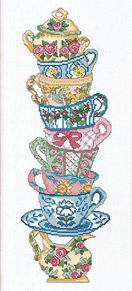 Teacup Stack Cross Stitch Kit | sewandso