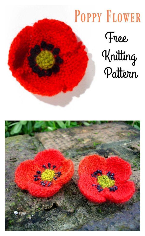 Poppy Flower Free Knitting Pattern | Knitted flower ...