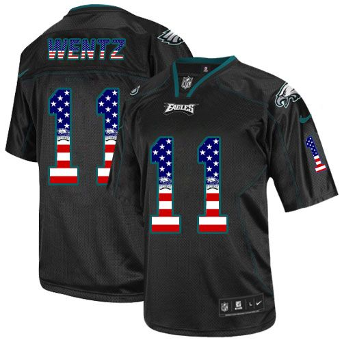 $24.99 Men's Nike Philadelphia Eagles #11 Carson Wentz Elite Black USA Flag Fashion NFL Jersey