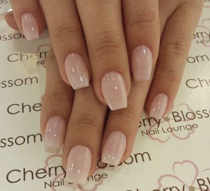 Short Natural Looking Acrylic Nails Neutral Color Coffin Shape
