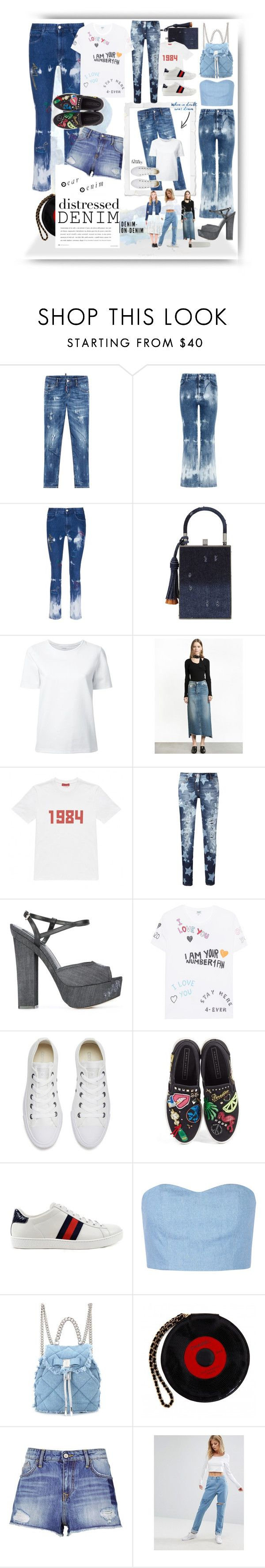 """Distressed Denim & Basics"" by alrdesign ❤ liked on Polyvore featuring Dsquared2, STELLA McCARTNEY, Jill Haber, Lemaire, Gosha Rubchinskiy, Philipp Plein, Kenzo, Converse, Marc Jacobs and Gucci"