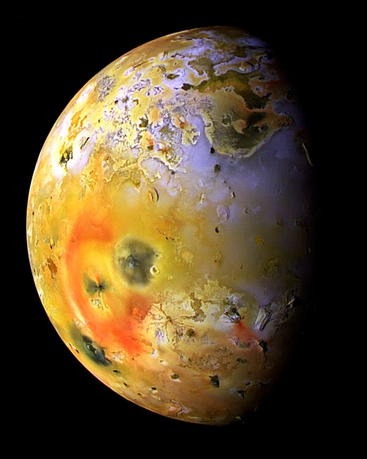Io is the first Galilean moon of Jupiter, it is slightly larger than Earth's moon.  Io experiences intense tidal heating due to its elliptical orbit and orbital resonance with Europa and Ganymede. This makes Io the most geologically active moon in our solar system. Io's interior is composed of molten iron sulphide, and the surface is a crust of sulfur and silicon. Io has more than 400 active volcanoes. http://en.wikipedia.org/wiki/Io_moon