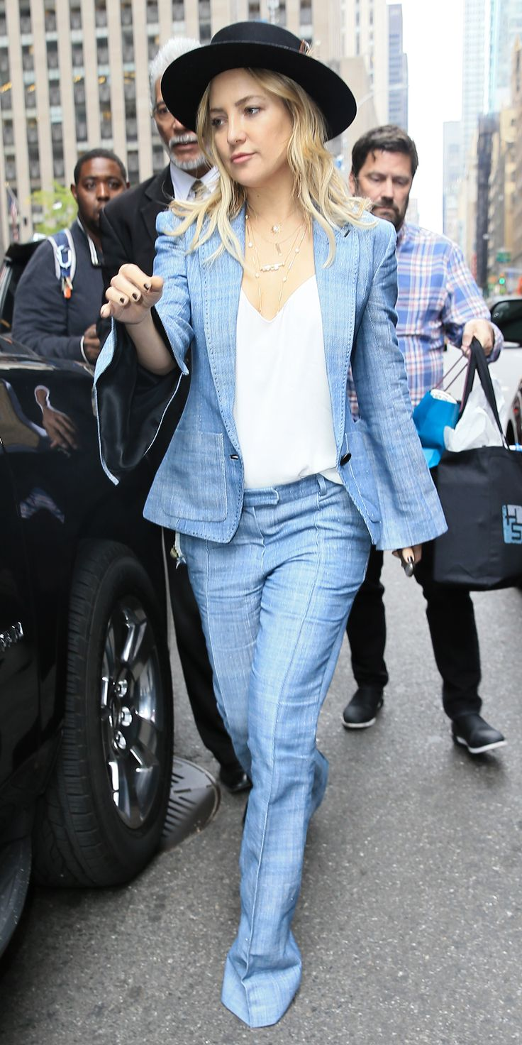 Kate Hudson's Cool Chambray Ensemble Has Us Rethinking the Pantsuit from InStyle.com