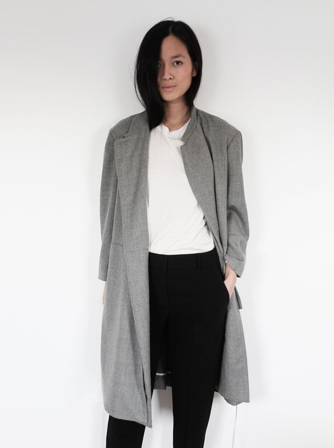 grey coat - white tee - black pants - maria van nguyen