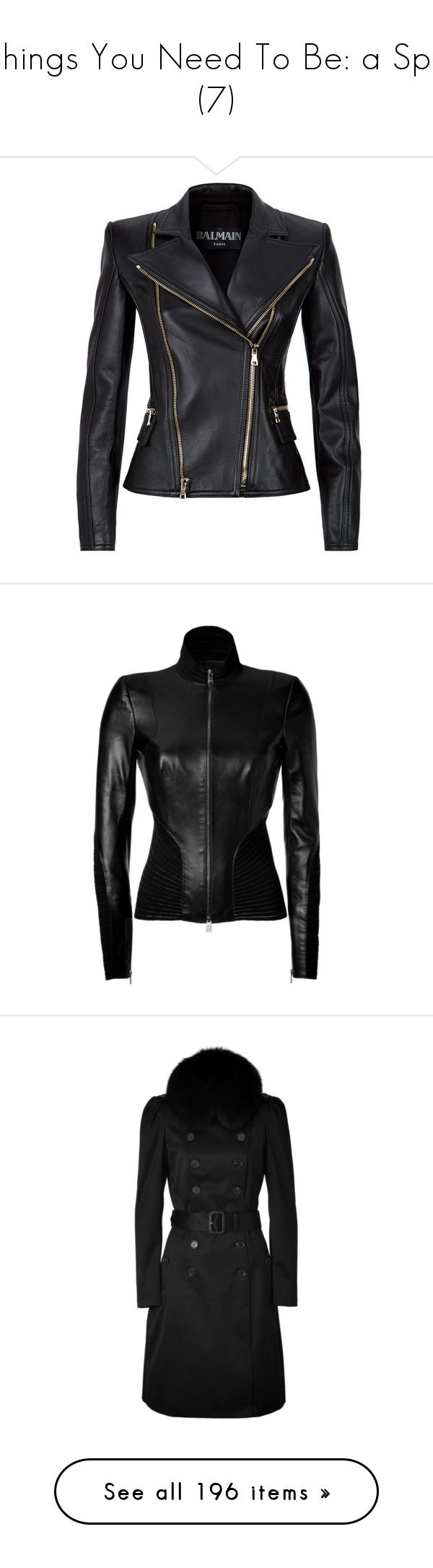 """Things You Need To Be: a Spy (7)"" by o-hugsandkisses-x ❤ liked on Polyvore featuring outerwear, jackets, tops, balmain, coats & jackets, biker jacket, lamb leather jacket, rider jacket, pocket jacket and lambskin jacket"