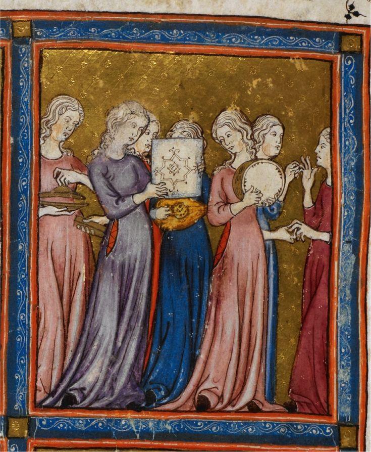 Miriam at the Sea (detail) Golden Haggadah, (1340), Fol.15 Courtesy British Library, London - Le Haggādoth sono  narrazioni dell'Esodo destinate alla lettura domestica la prima sera della Pasqua ebraica.