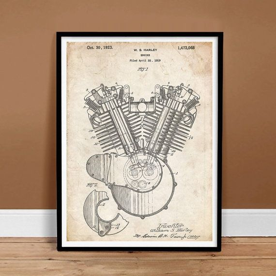 Buy Harley-Davidson Engine 1923 US Patent Art HD Vintage - Printable Instant Digital Download, Last Minute Gift Idea by stevesposterstore. Explore more products on http://stevesposterstore.etsy.com