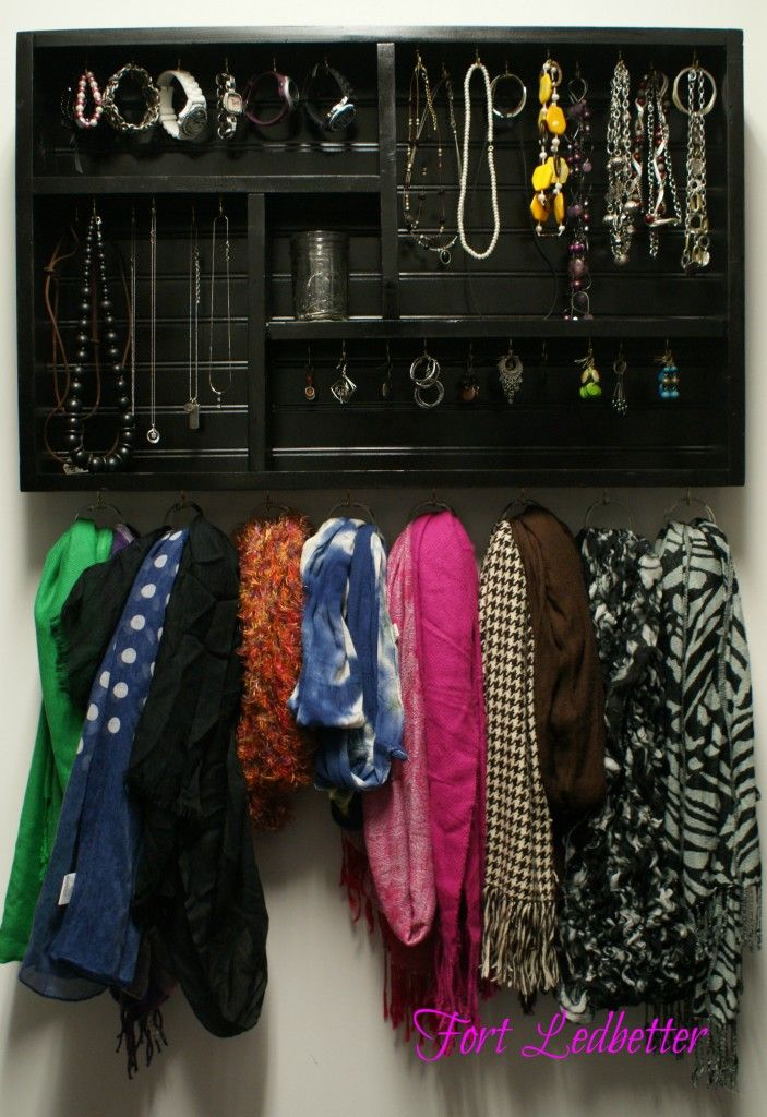 DIY jewelry & scarf shelf. Smart & easy tutorial. Making this one for inside my closet.