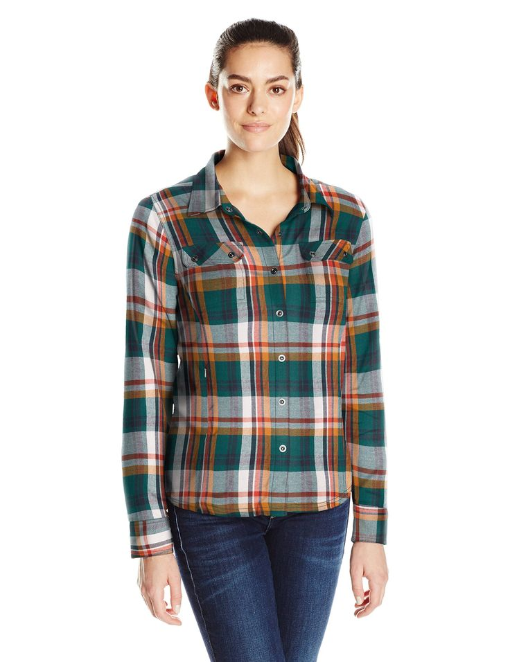 prAna Bridget Top, Deep Balsam, Medium. Organic cotton yarn dye plaid flannel. Thermal lined for layering. Ring snaps at chest pockets, sleeve cuffs, and placket. Hidden waist pocket with invisible zipper at wearer's right side. Standard fit.