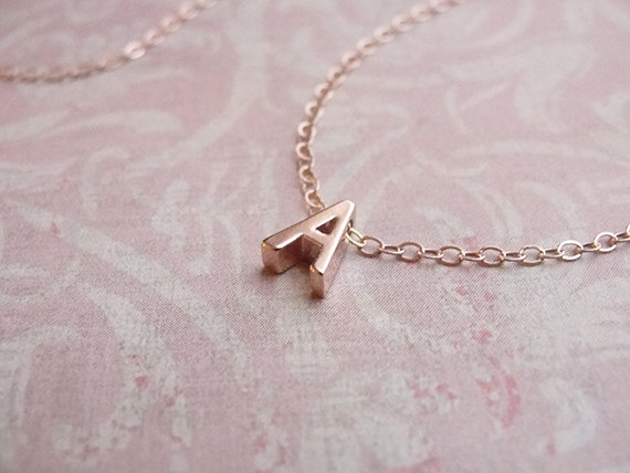 TINY ROSE GOLD LETTER NECKLACE - ROSE GOLD INITIAL ON ROSE GOLD FILLED CHAIN  $48.00