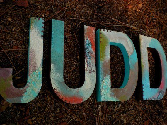 Name Wall Letters  Set of Four  Rustic by HappyMooseGardenArt