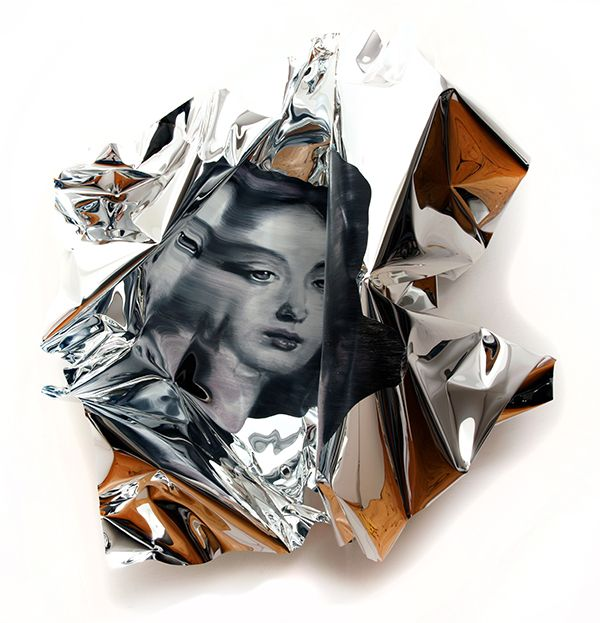 Oil Painting on Folded Mirror Polished Aluminium Foil. See more art and…