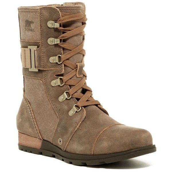 Sorel Major Carly Boot - Waterproof ($90) ❤ liked on Polyvore featuring shoes, boots, mid-calf boots, military lace up boots, mid calf lace up boots, sorel boots, waterproof military boots and lug sole platform boots