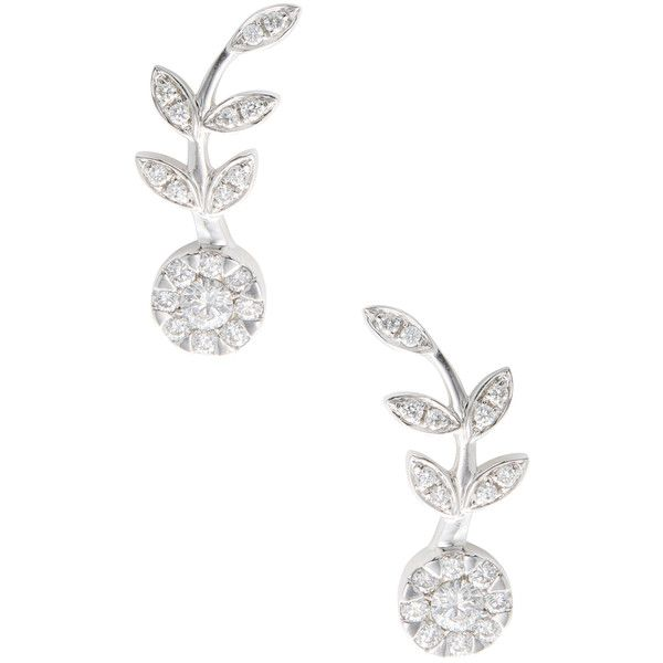 Rina Limor Women's 18K White Gold & 0.64 Total Ct. Diamond Flower Ear... (1 950 920 LBP) ❤ liked on Polyvore featuring jewelry, earrings, silver, diamond flower earrings, long silver earrings, ear climber earrings, silver jewellery and pave diamond earrings