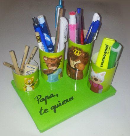 manualidades para niños organizador con tubos de carton