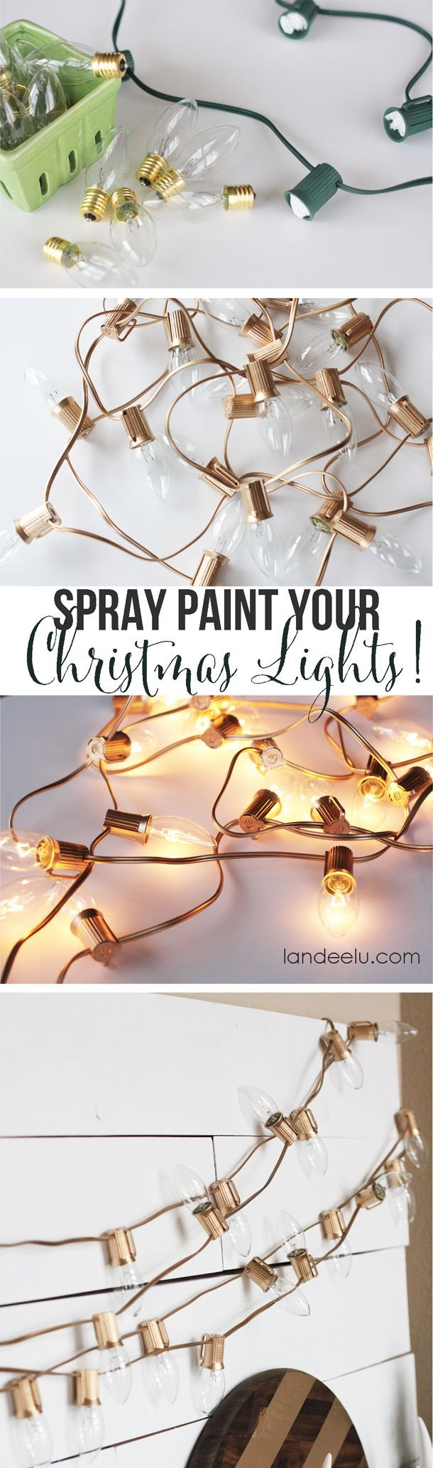 Spray Paint Your Christmas Lights Gold or Silver or whatever color you want!  Who would have thought!  EASY tutorial  |  landeelu.com