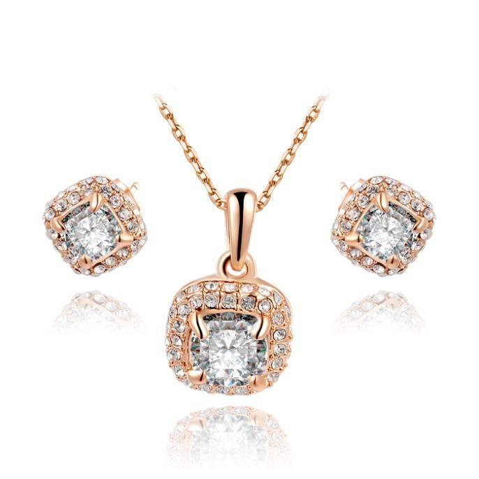 Новогодний подарок кристалл урожай установить девушке 100% техногенные мода золотые украшения милые серьги + ожерелье для ну вечеринку