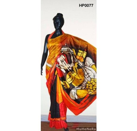 Special Hand Painted Saree with painting of M.F.Hussain on the saree.