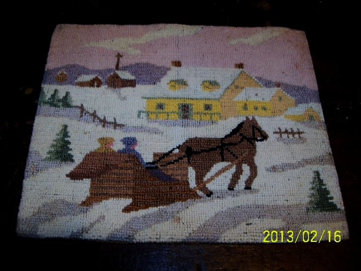 1920 S 1930 Greenfell Mission Hooked Mat Rug Church