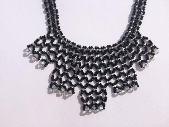 Black And White Beaded Necklace  Beaded Jewellery  by MarianaPandi