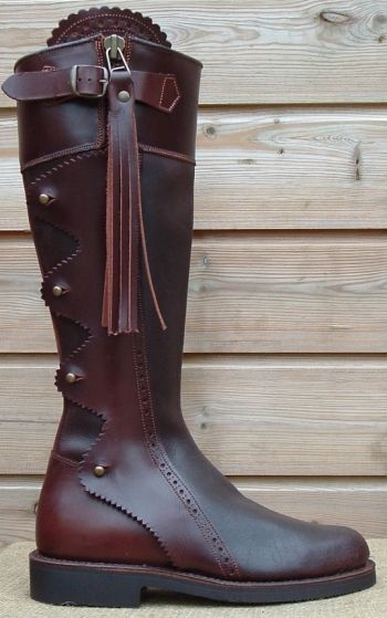 Spanish Leather Long Boot with scalloped covering - 1230