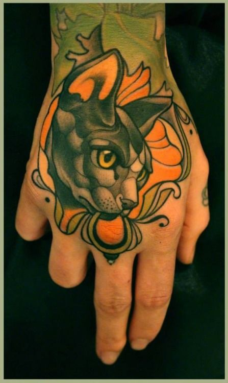 "Sphinx Cat hand tattoo | Lars ""Lu's Lips"" Uwe"